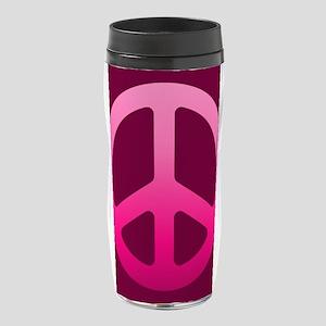 Pink Peace Symbol 16 oz Travel Mug