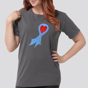 Light Blue Ribbon with Heart Womens Comfort Colors