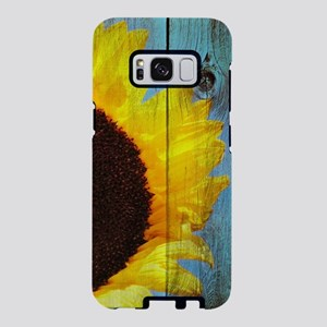 Rustic Sunflower Teal Wood Samsung Galaxy S8 Case
