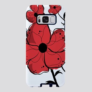 Modern Red and Black Floral Samsung Galaxy S8 Case