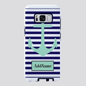 Navy Blue and Mint Monogram Samsung Galaxy S8 Case