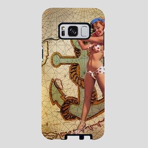 Vintage nautical beach gir Samsung Galaxy S8 Case