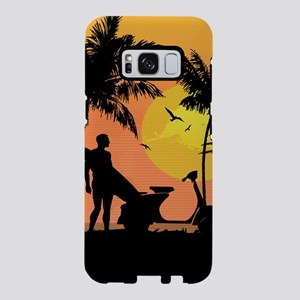 Surfer and scooter at Sunse Samsung Galaxy S8 Case