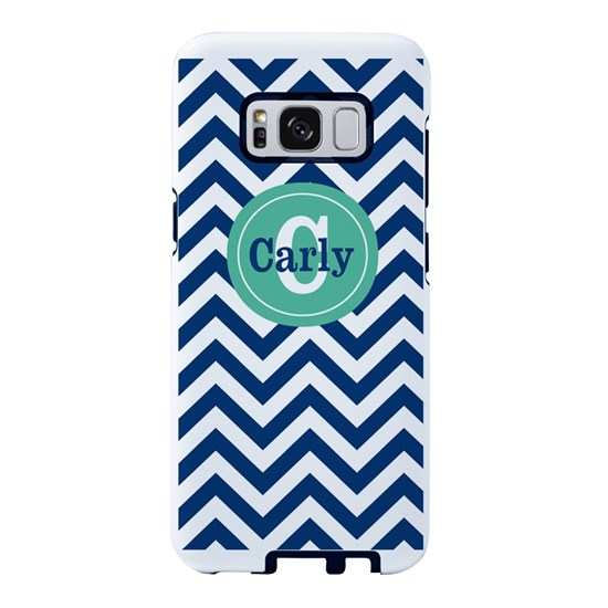 Navy Mint Chevron Personalized