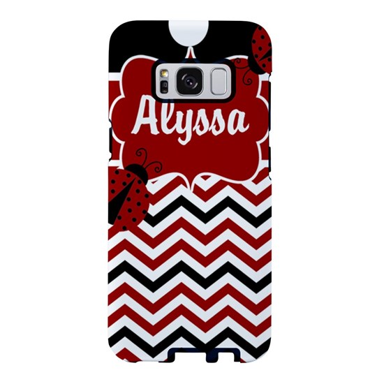 Red Black Chevron Ladybug Personalized