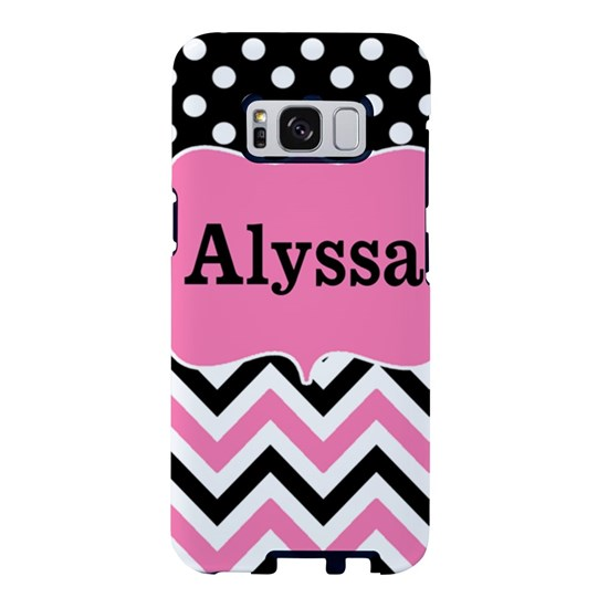 Black Pink Dots Chevron Personalized