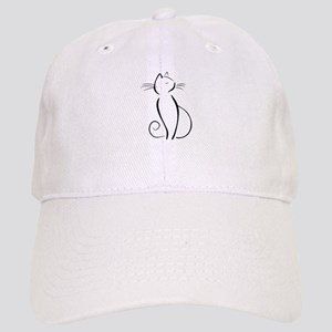 Line drawn black cat Baseball Cap
