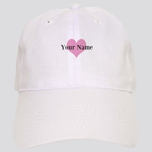 Pink heart and personalized name Baseball Cap