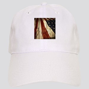 wood grain USA American flag Cap