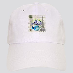 blue floral paris eiffel tower Cap
