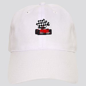 Red Race Car with Checkered Flag Cap