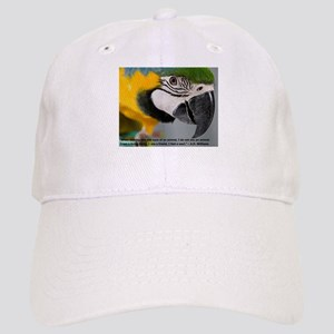 Blue and Gold Macaw with Quote Baseball Cap
