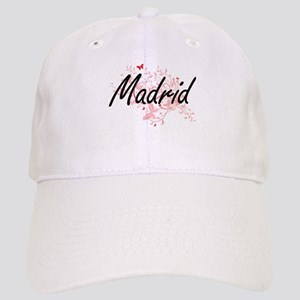 Madrid Spain City Artistic design with butterf Cap