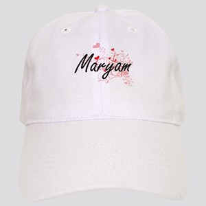 Maryam Artistic Name Design with Hearts Cap