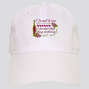 I Drink Wine Funny Quote Cap