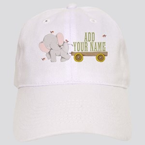 PERSONALIZED Cute Elephant Cart Baseball Cap