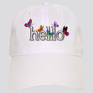 Bright Silver Hello with Colorful Butterflies Cap
