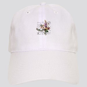 Dragonfly and flowers Cap