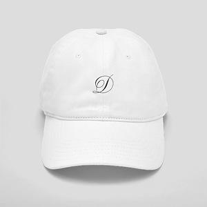 020908073ffee D Initial Black Script Baseball Cap