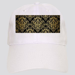 DAMASK1 BLACK MARBLE & GOLD BRUSHED METAL Cap