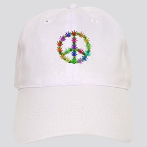 Rainbow Peace Marijuana Leaf Art Cap