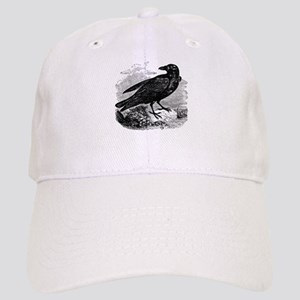 Vintage Raven Black Bird Crow Black White Cap