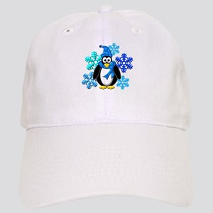 Penguin Snowflakes Winter Design Cap