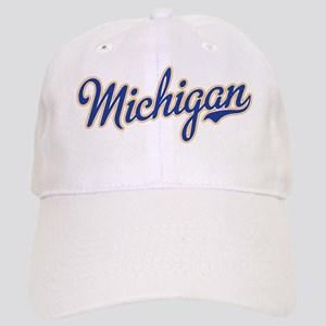 official photos b1771 fc005 Michigan Script Font Baseball Cap