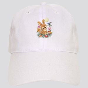 Cute Easter Bunny with Flowers and Eggs Baseball C