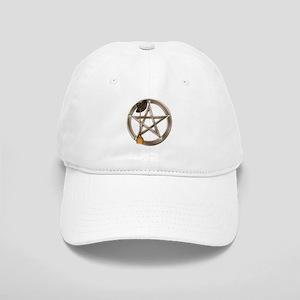 Silver Wiccan Pentacle and Broom Baseball Cap
