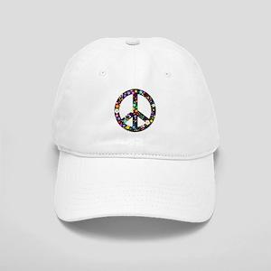 Hippie Flowery Peace Sign Cap