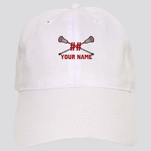 Personalized Crossed Lacrosse Sticks with Red Cap