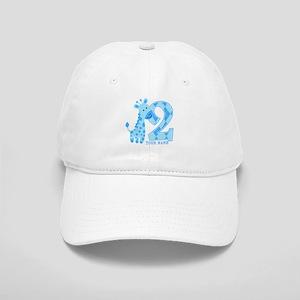 2nd Birthday Blue Giraffe Personalized Cap