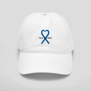 Personalized Blue Ribbon Heart Cap