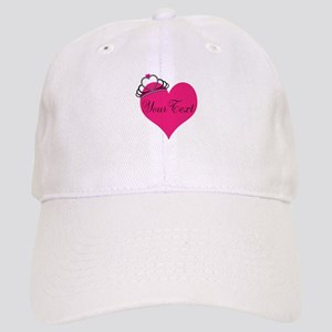 Personalizable Pink Heart with Crown Baseball Cap