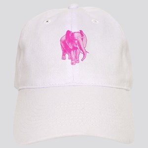 Pink Elephant Illustration Cap