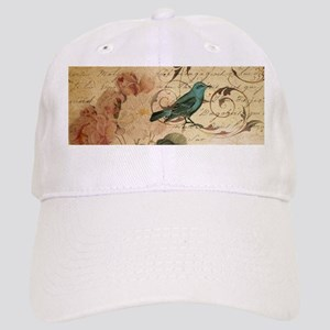 teal bird vintage roses swirls botanical art Cap