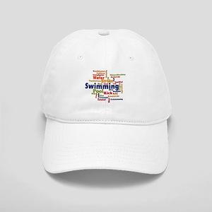 Swimming Word Cloud Baseball Cap