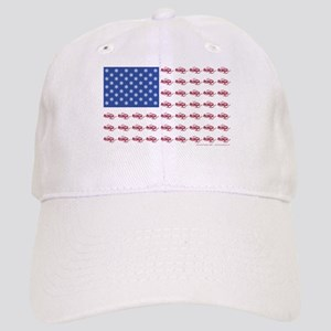 American Flag Made of Snowmobiles Cap