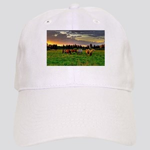 Horses Grazing Baseball Cap