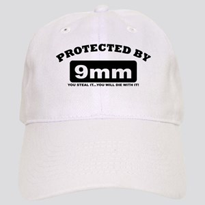 property of protected by 9mm b Baseball Cap