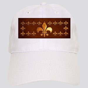 Old Leather with gold Fleur-de-Lys Cap