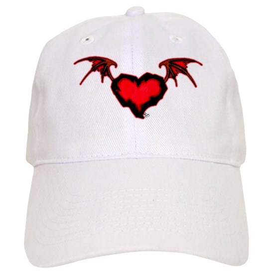 715d4b7e66b Jagged Red Heart W  Bat Wings Cap by The Flash Rack - CafePress