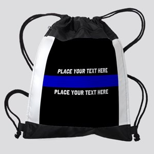 Thin blue line customized Drawstring Bag