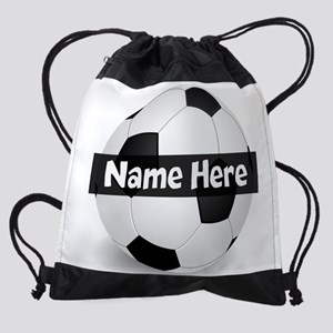 Personalized Soccer Ball Black/White Drawstring Ba