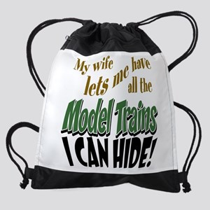 Model Railroads Drawstring Bag