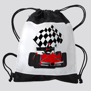 Red Race Car with Checkered Flag Drawstring Bag