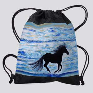 Running Free by the Sea 2 Drawstring Bag