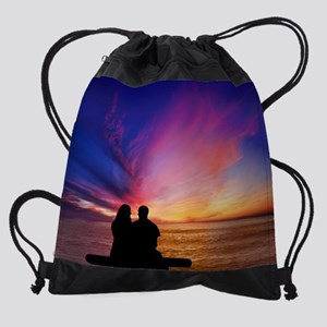 Romantic Sunset Drawstring Bag