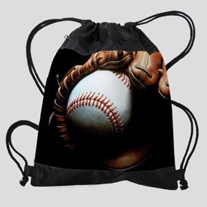 Baseball Ball And Mitt Drawstring Bag